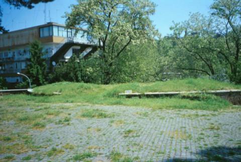 Area 1967: il terrazzamento pavimentato e i resti della struttura